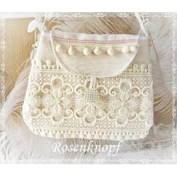 TASCHE Brauttasche Handtasche Damenhandtasche Umhängetasche Ivory Spitze UNIKAT Braut Frauen Hochzeit Abendtasche E