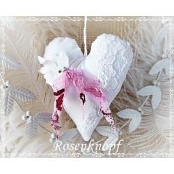 Stoffherz Weiß Pink Shabby