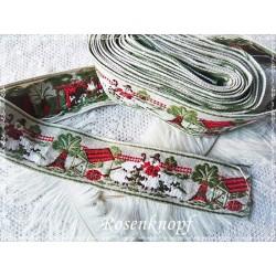 STOFFBORTE / WEBBAND  Vintage Beige Grün Weiß Rot