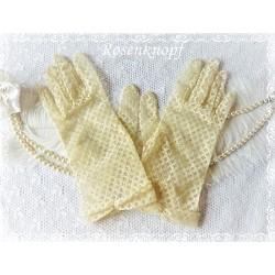 Tüllhandschuhe Gr.S Vintage Vanille Brauthandschuhe