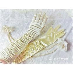 HANDSCHUHE Brauthandschuhe Gr.M Vanille Fingerhandschuhe Vintage Braut Hochzeit Standesamt extra lang