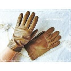 Fingerhandschuhe Leder Damen Braun