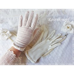 HANDSCHUHE Stoffhandschuhe S-M Ivory Brauthandschuhe Damenhandschuhe Frauen Vintage Fingerhandschuhe K