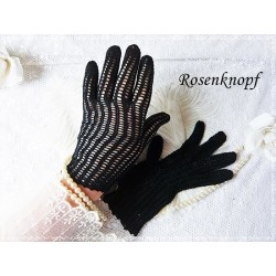 Fingerhandschuhe Damen Schwarzblau Vintage