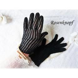 Handschuhe VINTAGE LADY Schwarzblau Gehäkelt Gr.S
