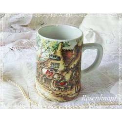 BIERKRUG Keramik Vintage Shabby Weiß Bunt