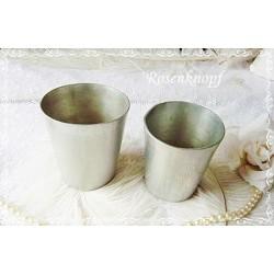 2er Set Shabby BECHER Vintage Aluminium