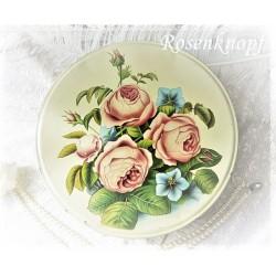 DOSE Keksdose Brandt Bisquit Vintage Weißblech Vanille Gold Weißblechdose Blechdose Antik Sammlerstück Rosen Rund E+K