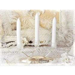 Kerzenleuchter Versilbert 3armig Glas Kerzenständer