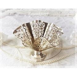 SERVIETTENHALTER Versilbert Tafelsilber Gebäck Shabby Vintage Brocante Silber Tischdekoration Tischschmuck 1950ger E