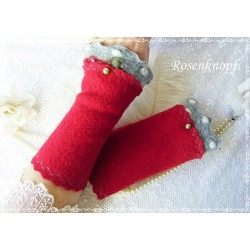 Walkstulpen Armstulpen Rot Grau