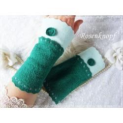 Walkstulpen Armstulpen Smaragdgrün Mint E+K