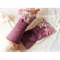 STULPEN Armstulpen Rosa Violett Ivory Stoffstulpen Pulswärmer Damenstulpen Handstulpen Walkrose Rosenstoff E