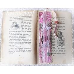 Lesezeichen Seitenzeichen Buchzeichen Rosa Weiß Mitbringsel Geschenk   K