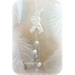 OSTERHASE Holzhase Mobile Weiß Perlen Ostern
