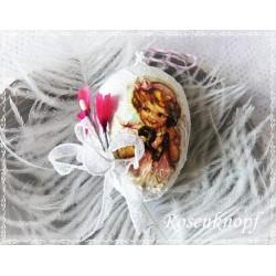 OSTERN Osterei Ei Osterstrauss Oster schmuck Weiß Pink Shabby Spitze Blüten Brocante Decopage E