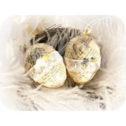 OSTEREI Shabby mit Buchseiten Spitze Rose Weiß Ei