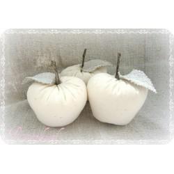 STOFFAPFEL Leinen Ivory Shabby Vintage Dekoobst Wohndeko Apfel Geschenk Jahreszeitentisch Herbst Obst K