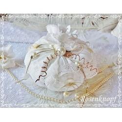 Großer KÜRBIS Gr.1 Stoff Shabby Weiß Spitze Perlen Herbst Nr 1