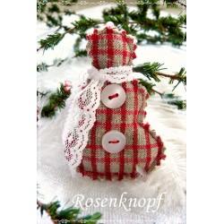 Schneemann Weihnachten Rot Weiß Shabby