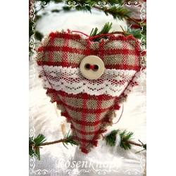 Stoffherz Weihnachten Rot Weiß Shabby
