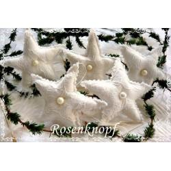 Romantischer STERN im Shabby Stil aus Spitze Tüll und Leinen in Weiß