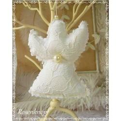 Romantischer ENGEL im Shabby Stil aus Spitze Tüll und Leinen in Weiß