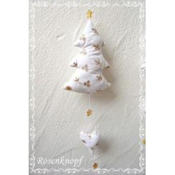 Tannenbaum Herz Mobile Weiß Weihnachten
