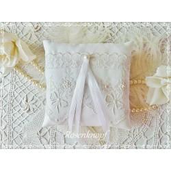 RINGKISSEN Weiß Reinweiß Tüllspitze Florale Stickerei Satin Braut Hochzeit Standesamt Ringträgerkissen E
