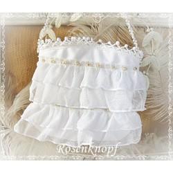 TASCHE Brauttasche Weiß Tüll Handtasche Abendtasche Stofftasche Damenhandtasche Umhängetasche UNIKAT Spitze E+K