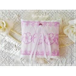 RINGKISSEN Weiß Rosa Tüllspitze Stickerei Braut Hochzeit Standesamt Ringträgerkissen Satinbänder Eheringe Ringe E