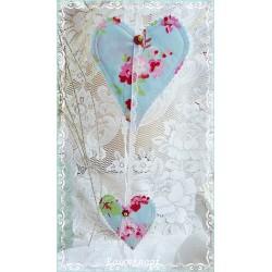 Girlande LISA-ROS Hellblau 2teilig Herzen Weiß Rosa Shabby Spitze