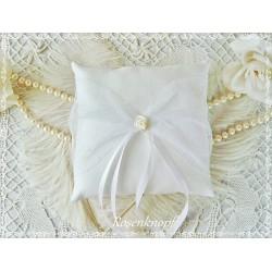 RINGKISSEN Weiß Reinweiß Tüll Unikat Seide Braut Hochzeit Standesamt Seidenkissen Ringträgerkissen Trauringe Ringe E
