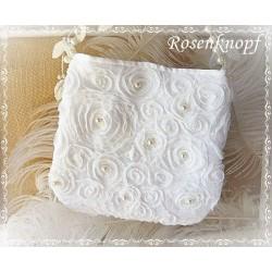 HANDTASCHE oder Brauttasche in Ivory mit Tüllröschen und Perlen E+K