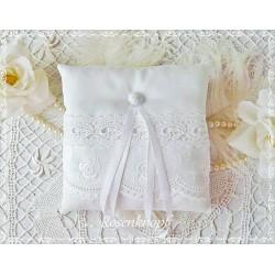 Ringkissen Weiß Spitze Stickerei Hochzeit  E