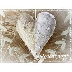 Herz Weiß Ivory Shabby