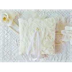 RINGKISSEN Ivory Wollweiß Ecru Creme Tüllspitze Rosenblüten Tüllblüten Braut Hochzeit Standesamt Ringträgerkissen E
