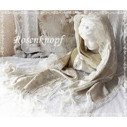 Schal Tuch Brautschal Beige Silber