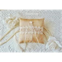 RINGKISSEN Gold Ocker Ivory Wildseide Brüsseler Spitze Blütenapplikation Organza Braut Hochzeit Standesamt Ringträgerkissen E