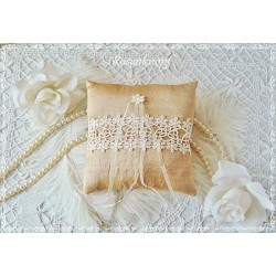 Ringkissen Gold Ocker Ivory Wildseide  Hochzeit  EK