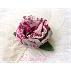 Ansteckblüte KLEINE ROSE Brosche Rosa Weinrot Beige Stoff Schmuck