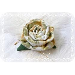 Ansteckblüte GROßE ROSE Brosche Weiß Ocker Stoff Schmuck