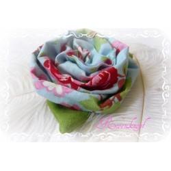 Ansteckblüte GROßE ROSE Brosche Hellblau Rosa Stoffbrosche