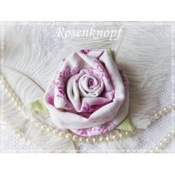 Ansteckblüte GROßE ROSE Weiß Violett Brosche Brautschmuck