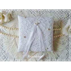 Ringkissen Weiß Plauener Spitze Hochzeit E