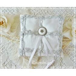 RINGKISSEN Weiß Reinweiß Silber Pailletten UNIKAT Knopf Braut Hochzeit Standesamt Satinkissen Ringträgerkissen E+K