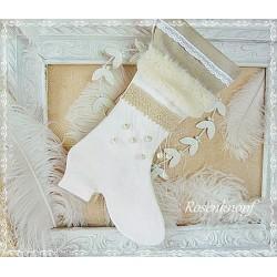 Nikolausstiefel im Shabby Stil aus Leinen in Ivory und Beige K