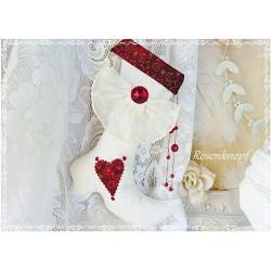 NIKOLAUSSTIEFEL Stoff Ivory Rot Weihnachten Shabby Vintage