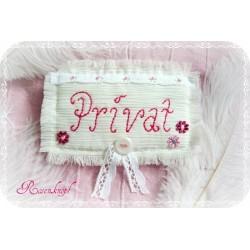 Türschild PRIVAT Shabby Ivory Stickerei Creme Rosa
