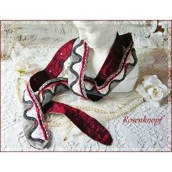 Halsband Schal Bordeaux Weiß